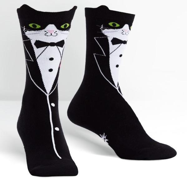 Sock It To Me Socks - Women's Crew - Tuxedo Cat