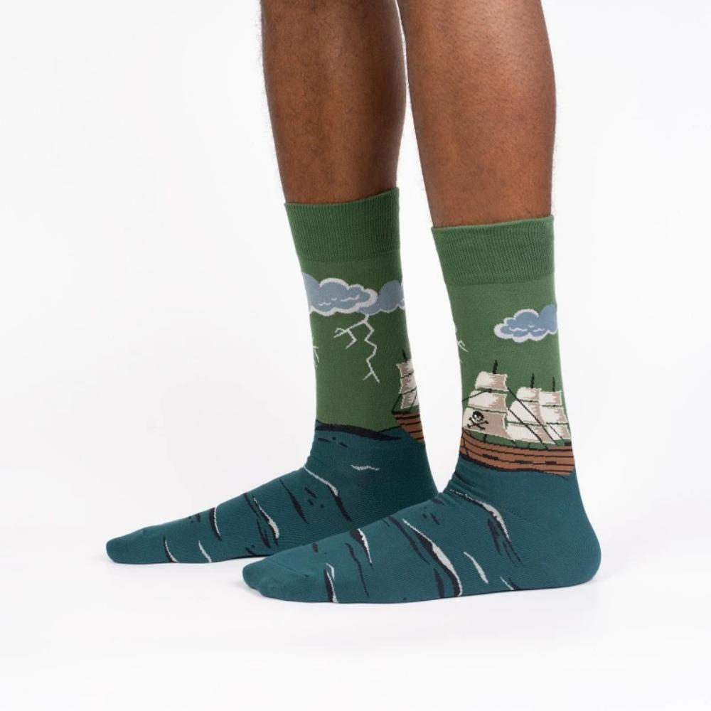 Sock It To Me Socks - Men's Glow in the Dark Crew - Stormy Seas