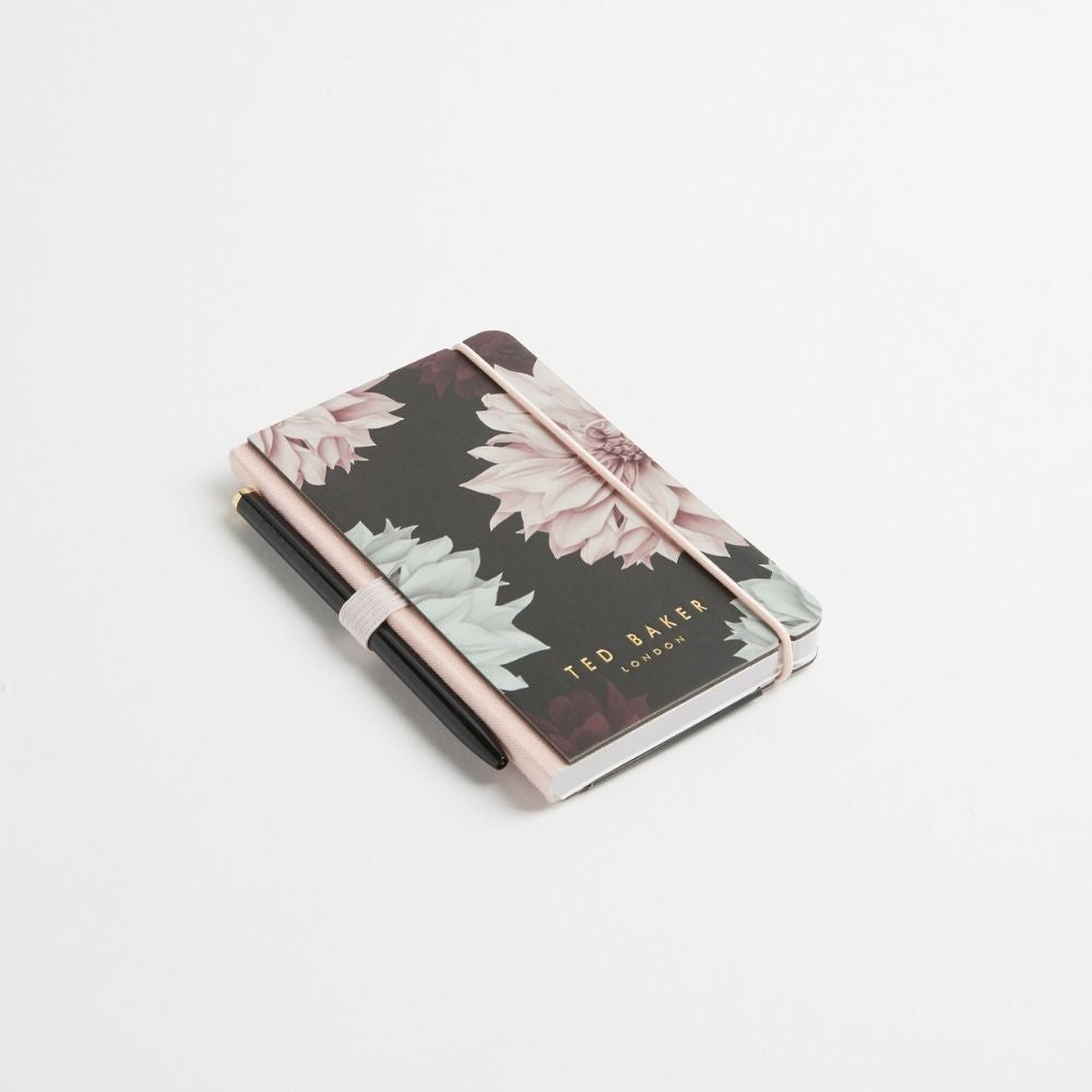 Ted Baker Mini Notebook with Pen - Black Clove
