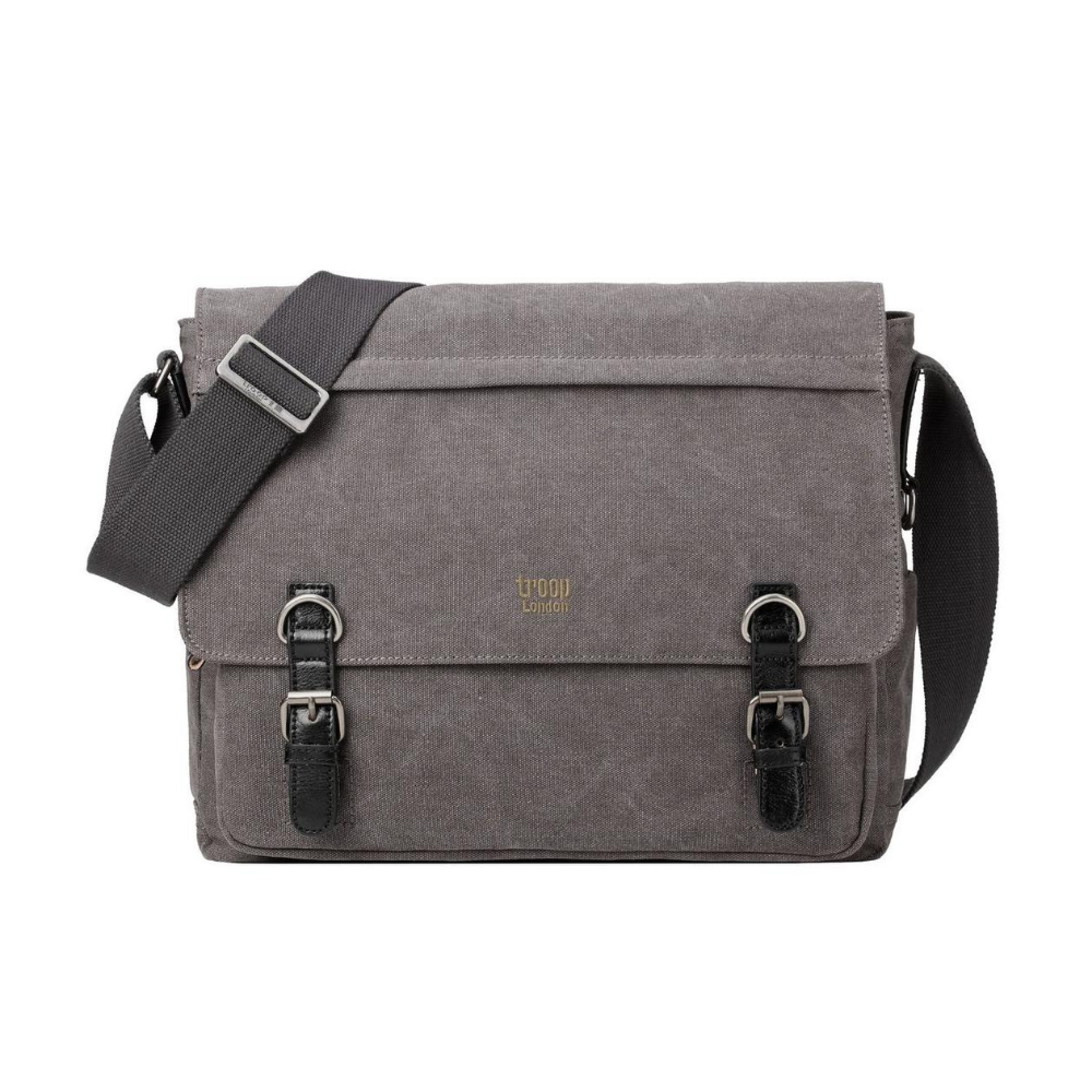 Troop London Classic Canvas Messenger Laptop Bag in Black from funky gifts nz