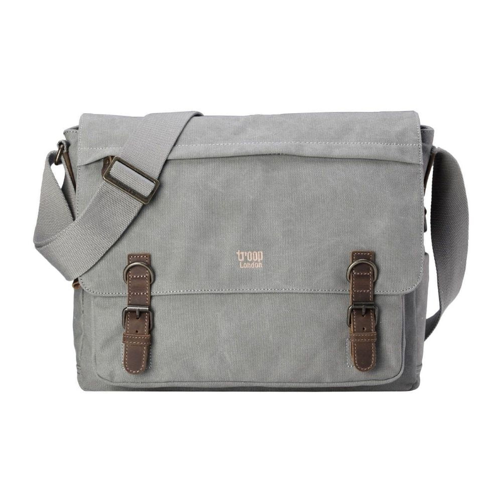 Troop London Classic Canvas Laptop Messenger Bag Ash Grey From Funky Gifts NZ