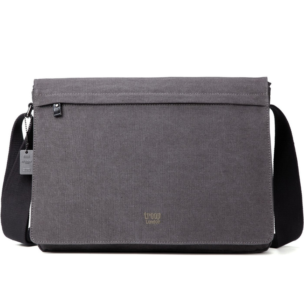 Troop Classic Laptop Messenger Bag (Front Flap) LARGE - Charcoal