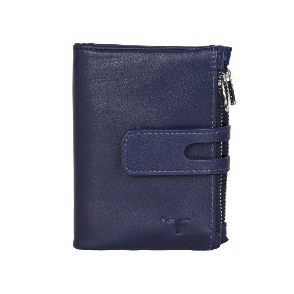 Urban Forest Leather Sierra Wallet with two zipped pockets in Serena Blueberry colour from Funky Gifts NZ