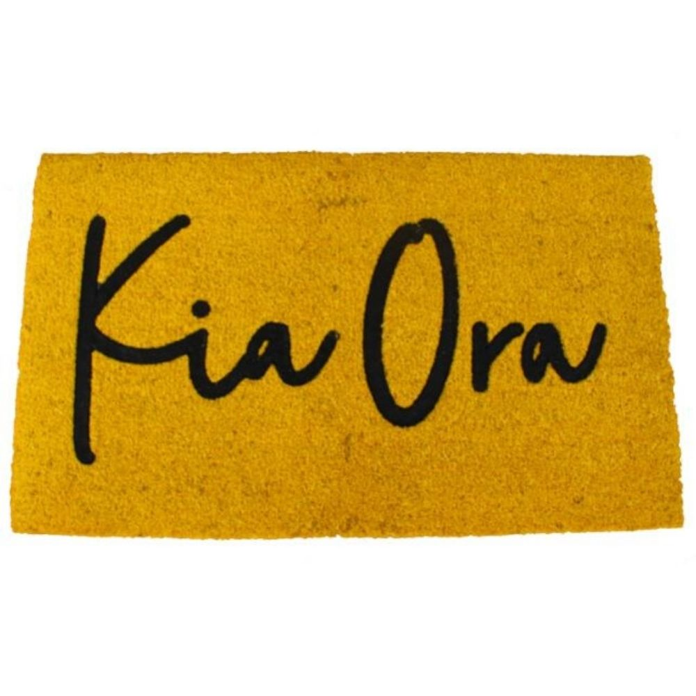 Kia Ora Yellow Large Door Mat Moana Road