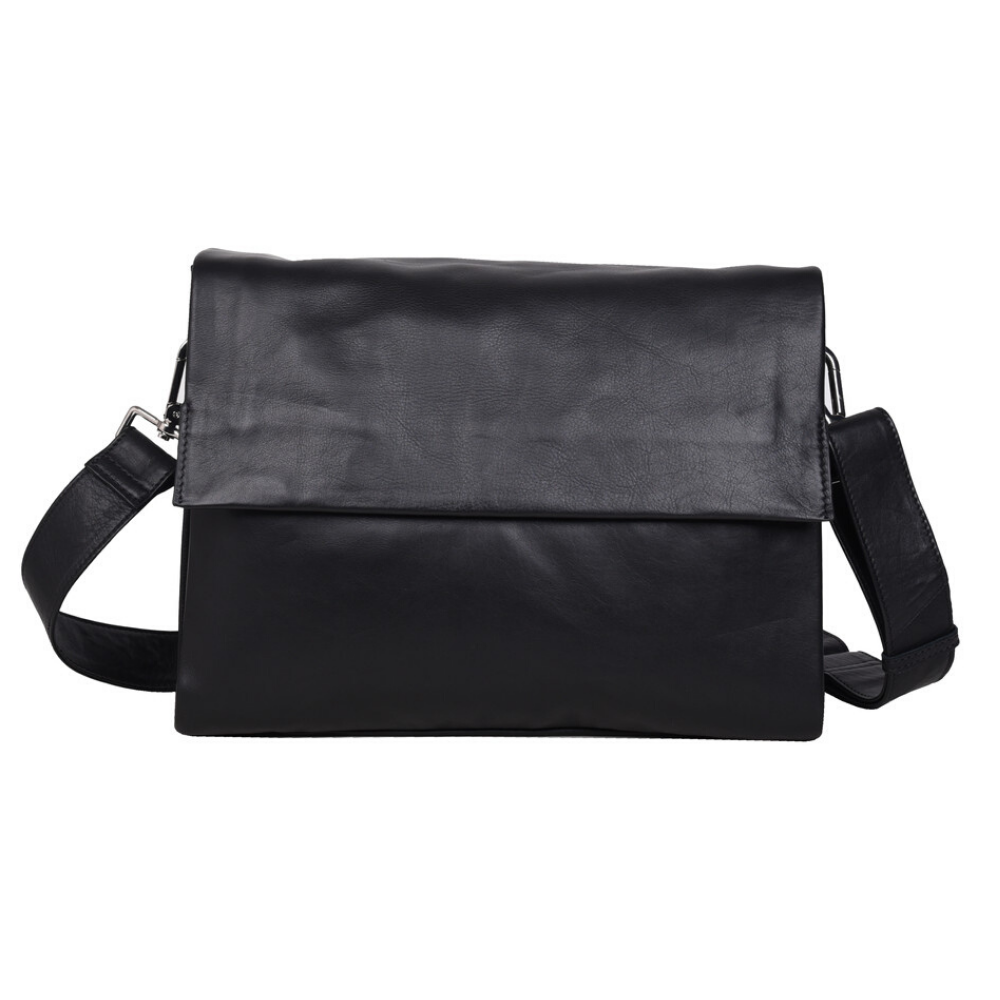 Urban Forest Monroe Soft Leather Large Hand Bag w/ Flap - Black