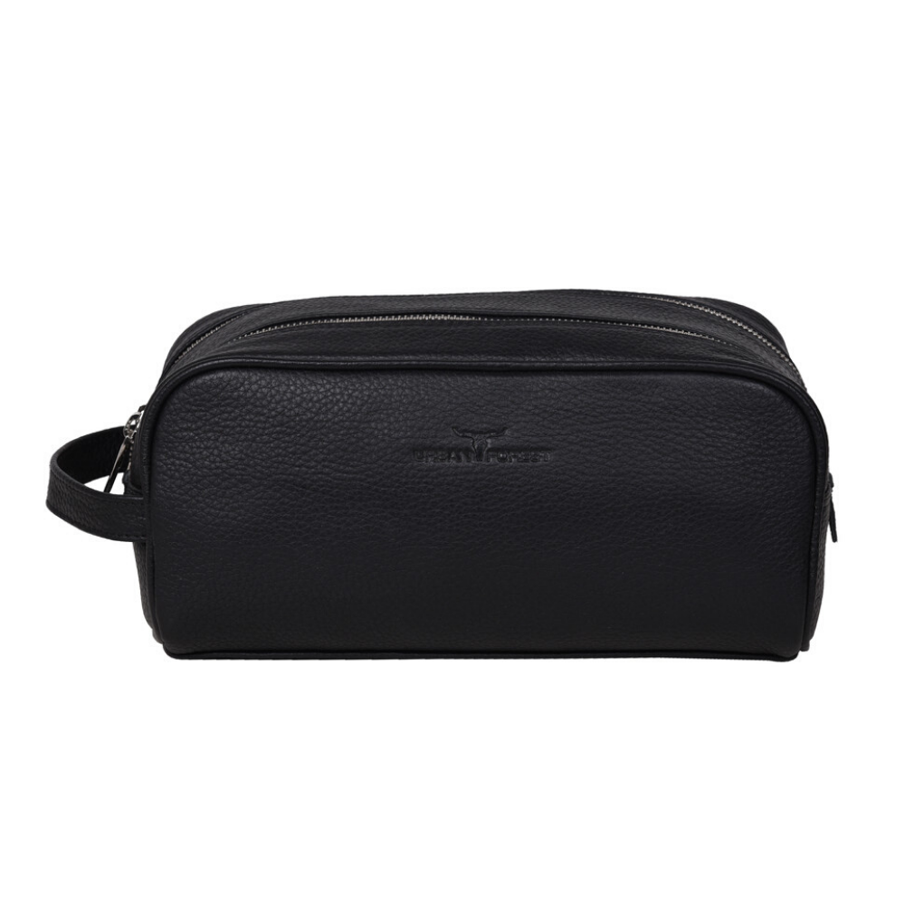 Urban Forest Marco Leather Wash Bag - Black