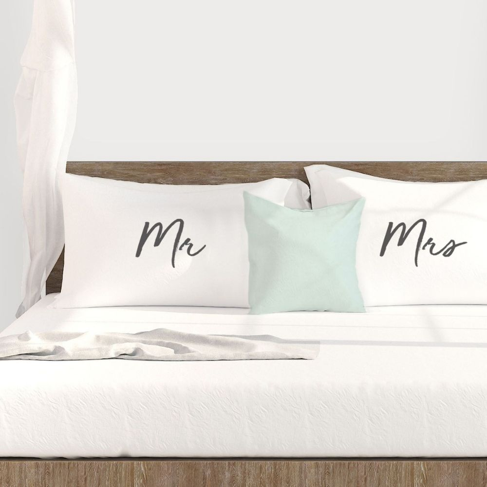 mr and mrs pillowcase set from funky gifts nz
