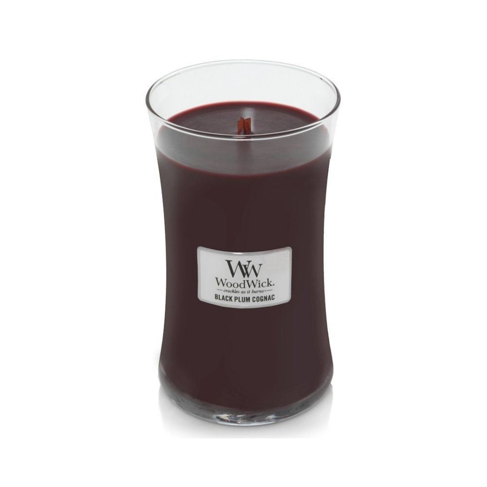 Large WoodWick Scented Soy Candle - Black Plum Cognac