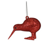 Xmas Red Glitter Kiwi Hanging Decoration