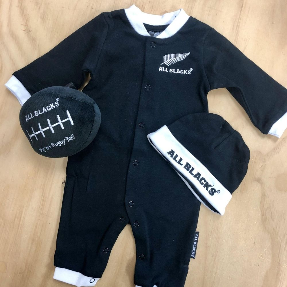 all blacks newborn baby gift set 3pc from funky gifts nz