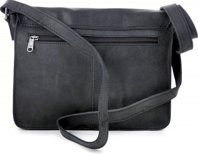Urban Forest Apache Small Leather Satchel Bag - Black Back