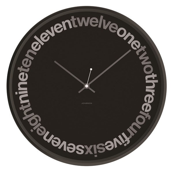 JONSSON Text Black Wall Clock