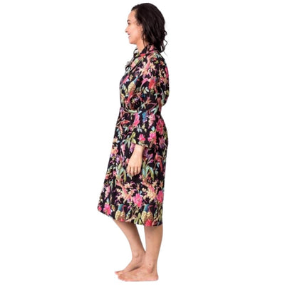 birds of paradise kimono robe black from funky gifts nz