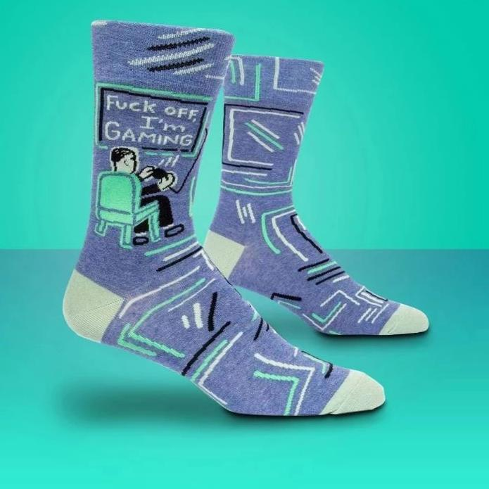 Blue Q Socks – Men's Crew – Fuck Off, I'm Gaming