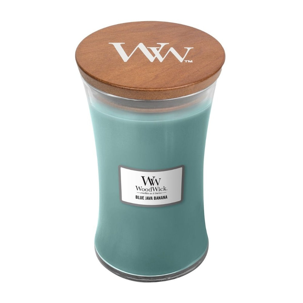 Large Scented WoodWick Soy Candle - Blue Java Banana
