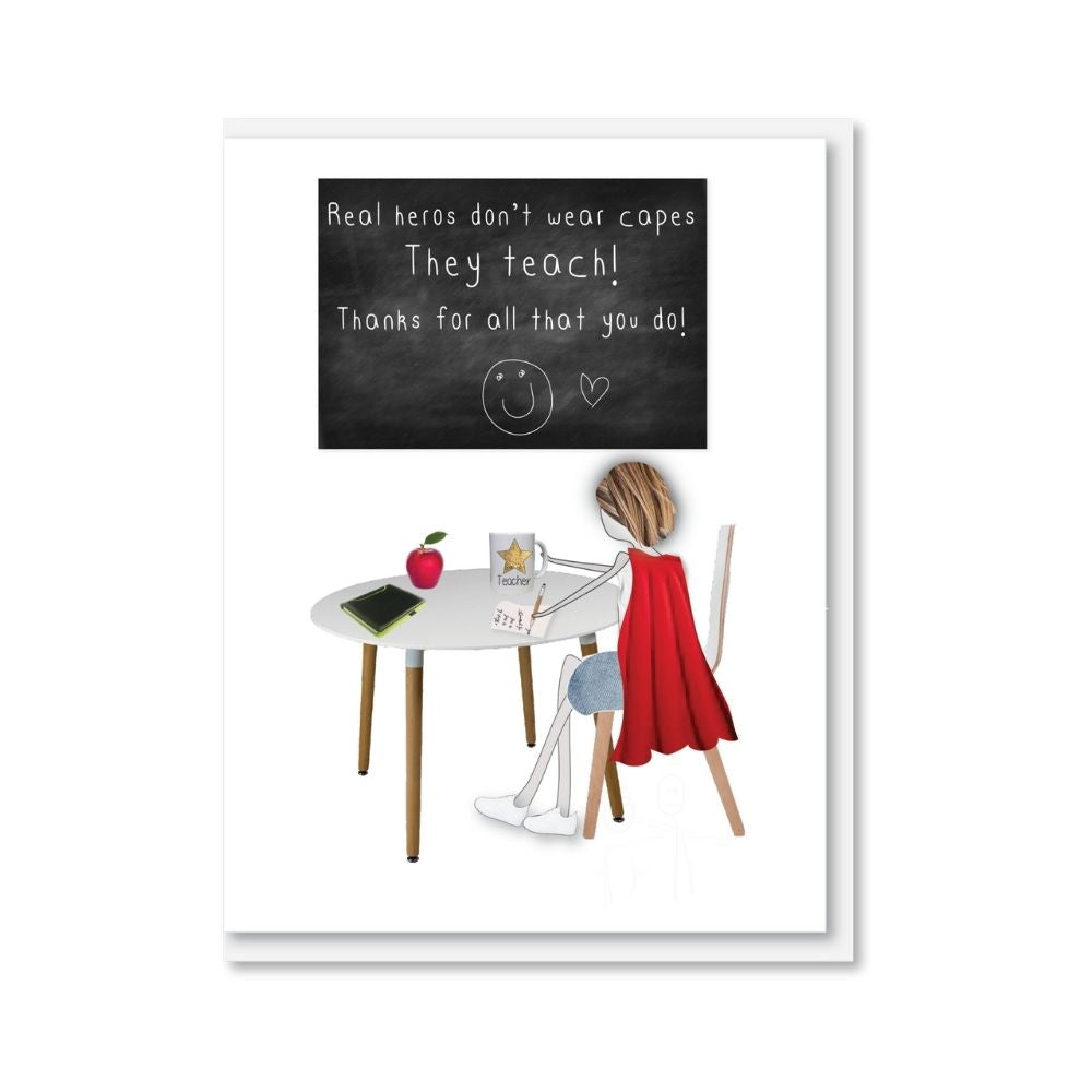 Real heros don't wear capes greeting card from funky gifts nz