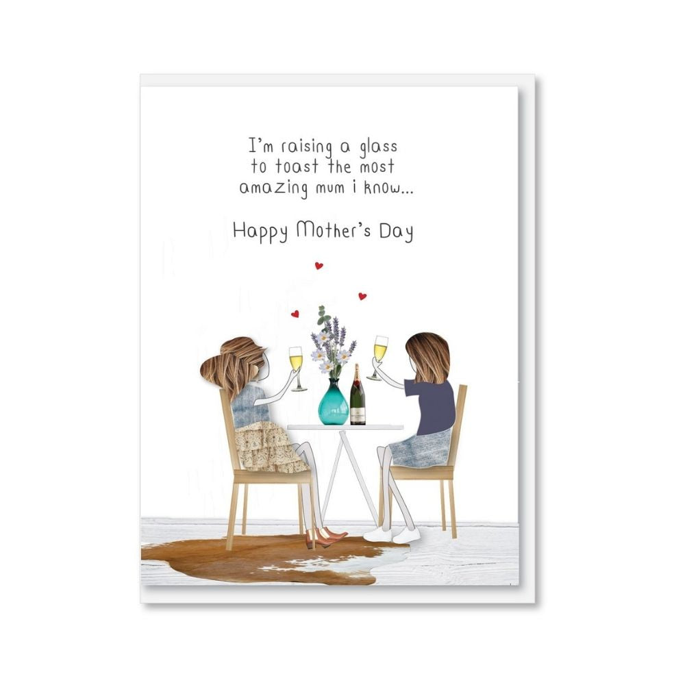 NZ MADE Mother's Day Greeting Card - Raising A Glass To Toast