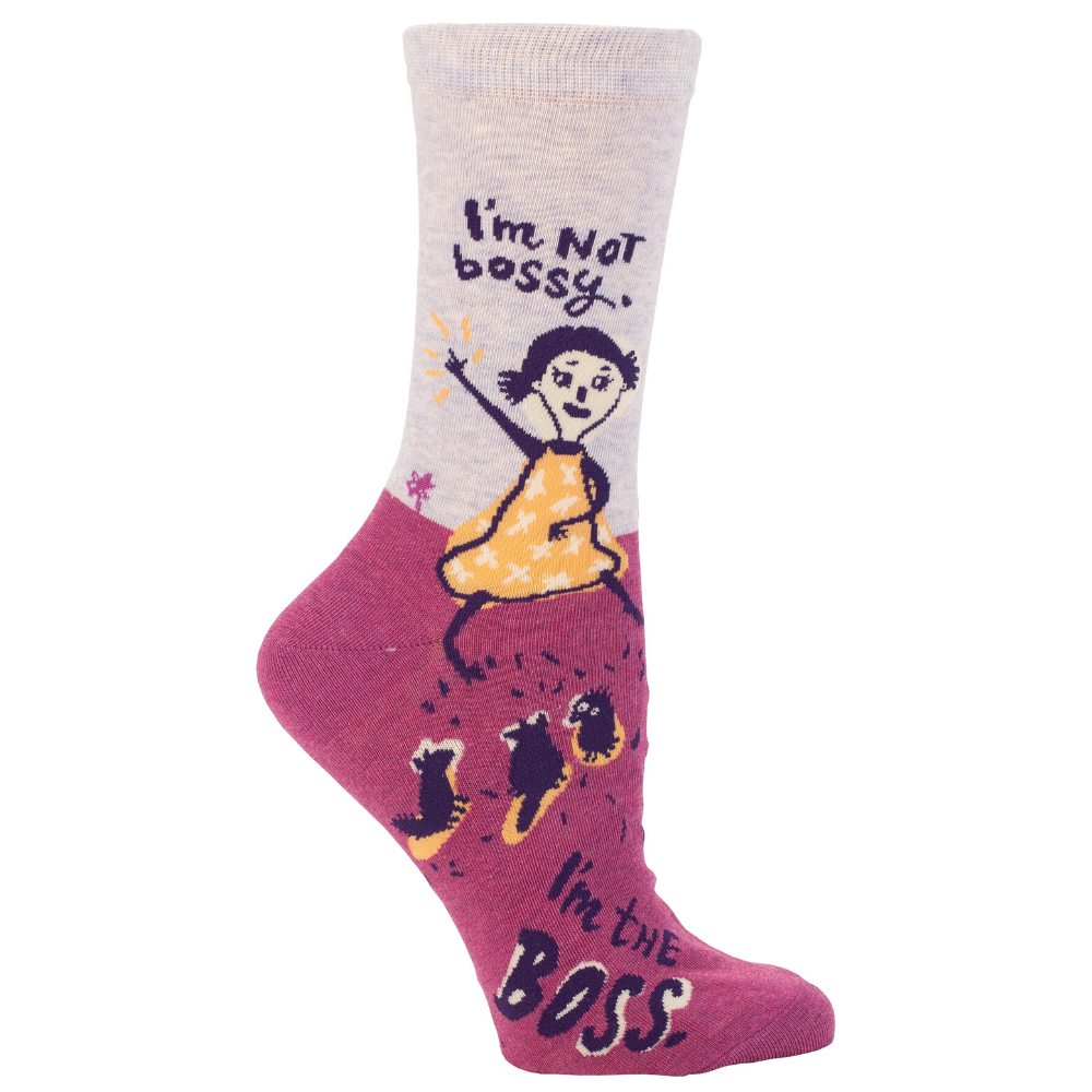 Blue Q Socks – Women's Crew – Im not Bossy I'm The Boss