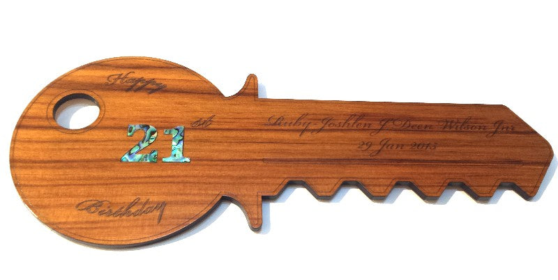 Traditional Wooden 21st Key - Can be Engraved