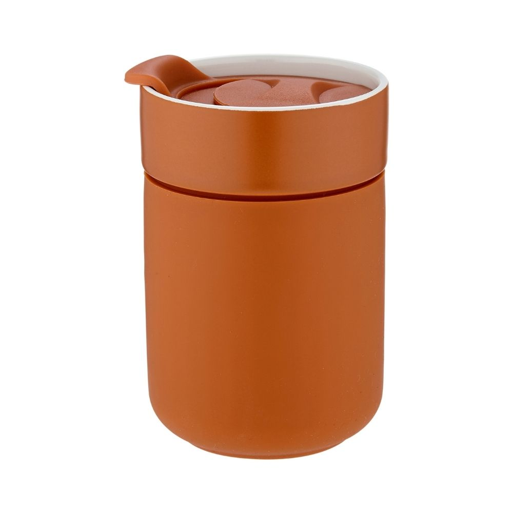 ladelle eco brew travel mug terracotta from funky gifts nz