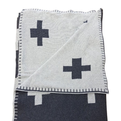 Large Cotton Throw Blanket - Crosses