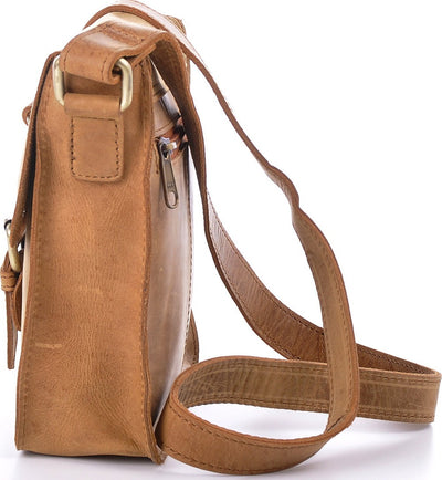 Urban Forest Little Joe Leather Body Bag - Cognac Side
