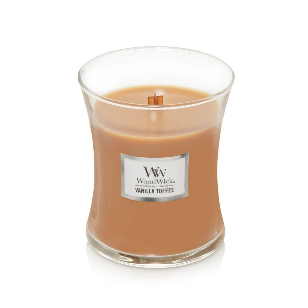 Medium Woodwick Candle Vanilla Toffee from funky gifts nz