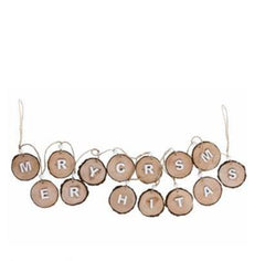 `MERRY CHRISTMAS` WOODEN GARLAND TREE SLICES