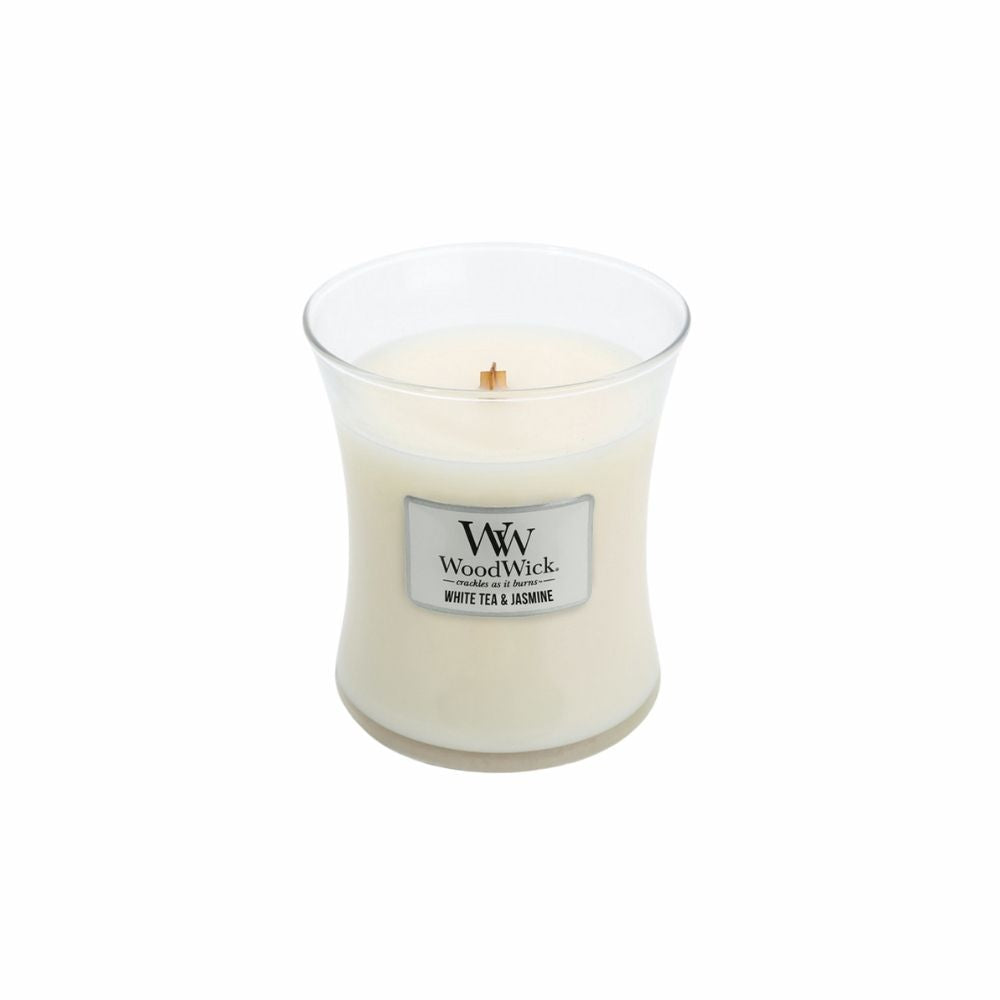 Mini white tea and jasmine woodwick scented soy candle from funky gifts nz