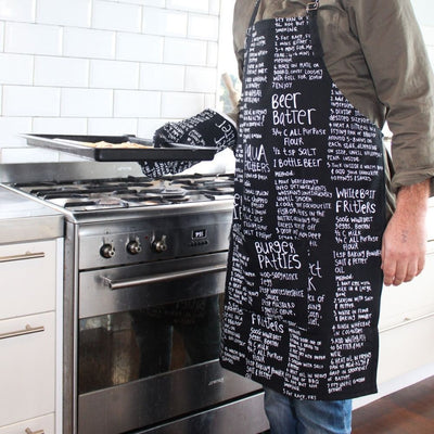 Moana Road NZ recipes Oven mitt and apron set black from funky gifts nz