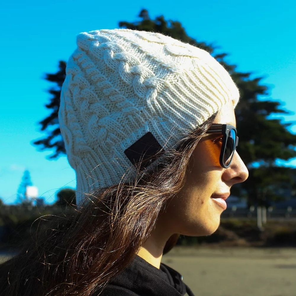 Moana Road Beanie with Built-in Wireless Headphones - White