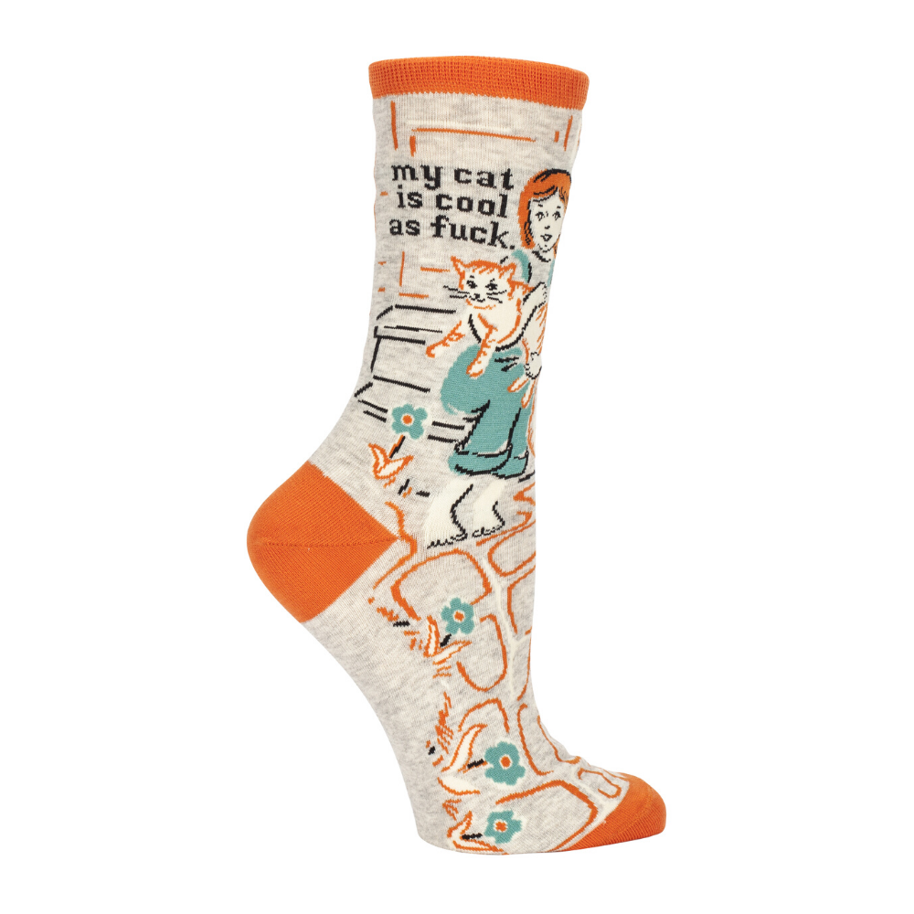 Blue Q Socks – Women's Crew – My Cat Is Cool As F*ck