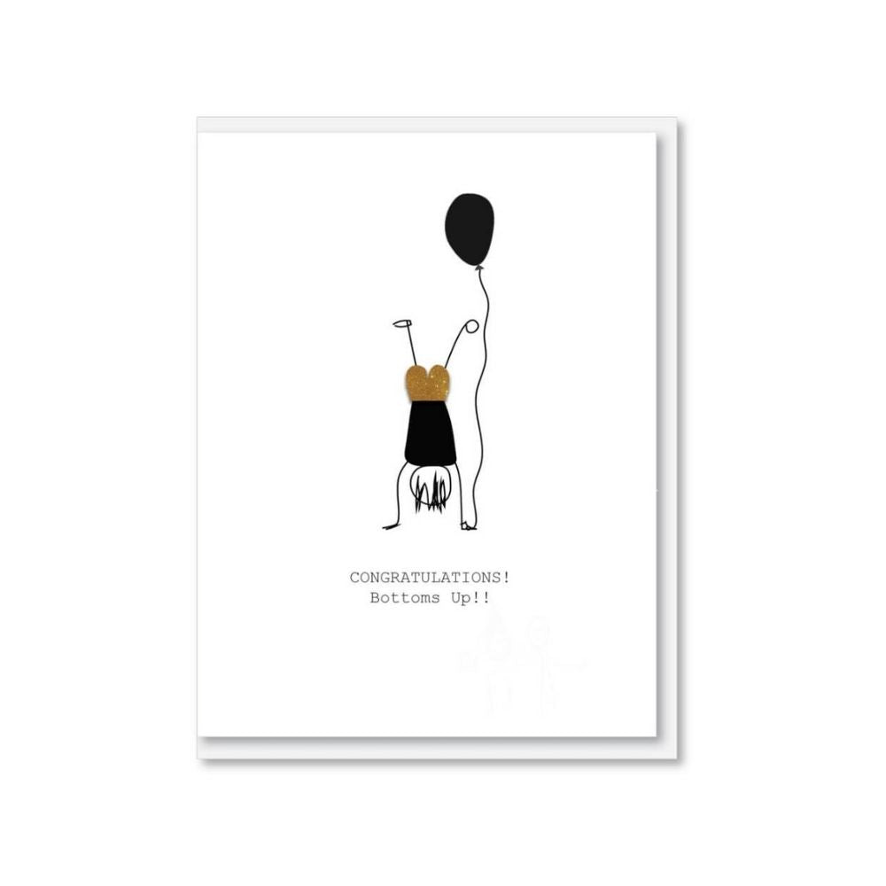 Congratulations Bottoms Up greeting card from funky gifts nz