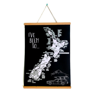 NZ road trip scratch map framed from funky gifts nz