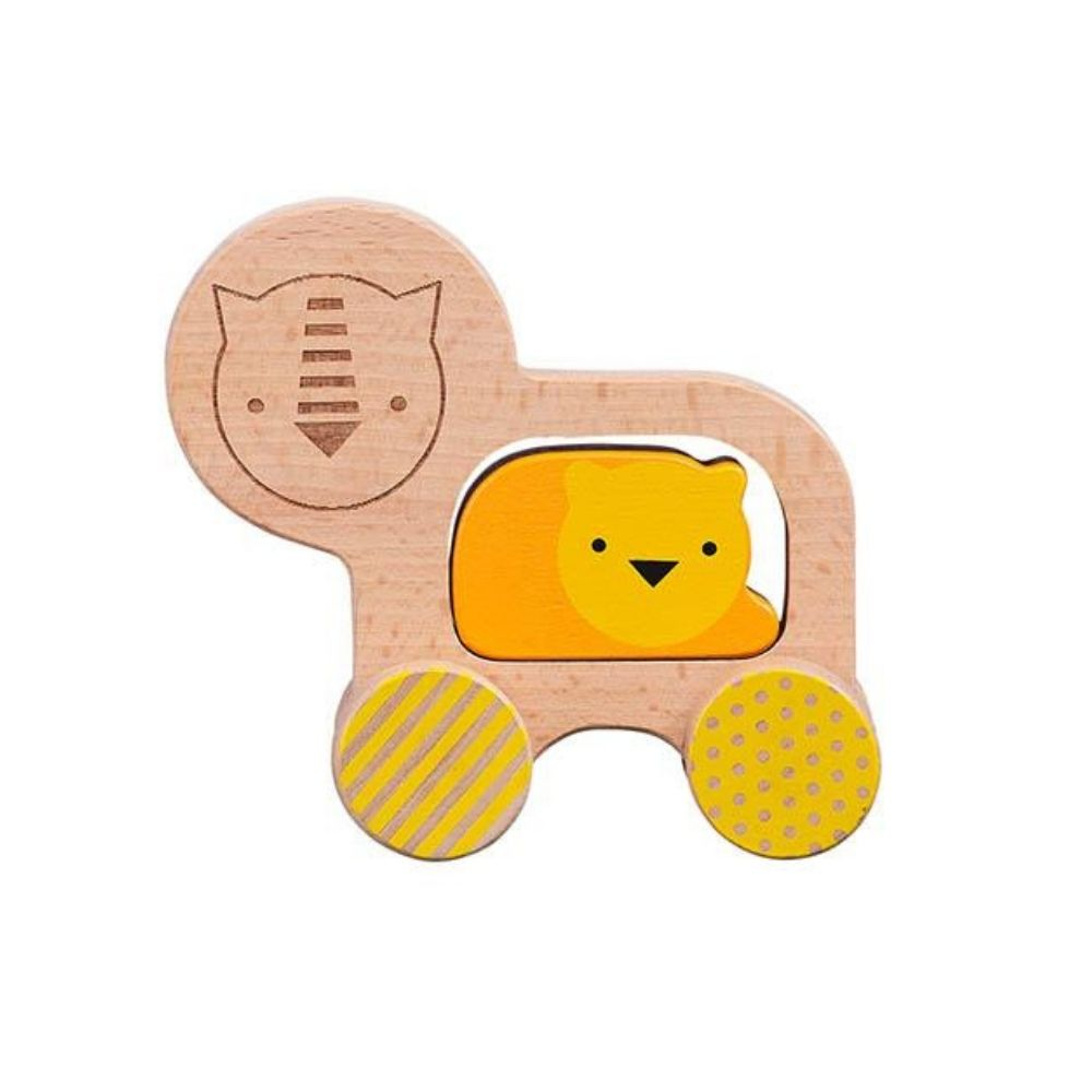 little lion wooden push along toy from funky gifts nz