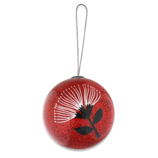 Christmas Ball Hanging Decoration - Pōhutukawa Red & Black
