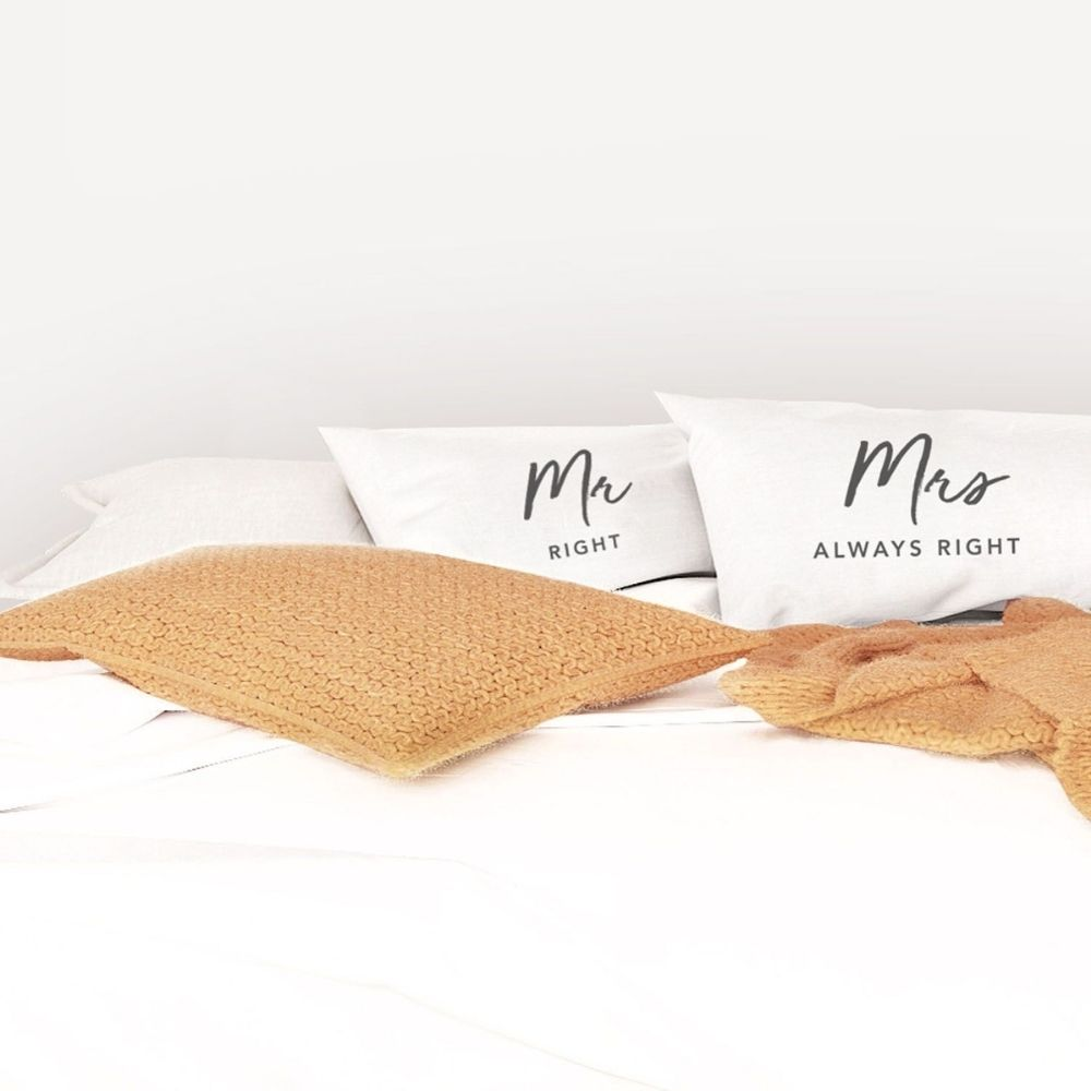 Splosh Mr Right and Mrs Always Right pillowcase set from funky gifts nz