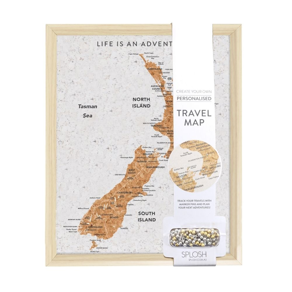 NZ Travel Map Pin Board from Funky Gifts NZ