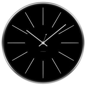 JONSSON Station Black on Steel Wall Clock
