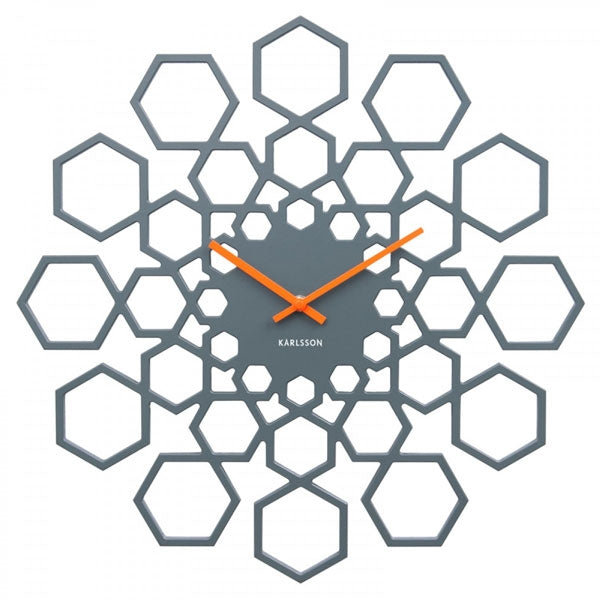 Karlsson Wall Clock Sunshine Hexagon - Grey