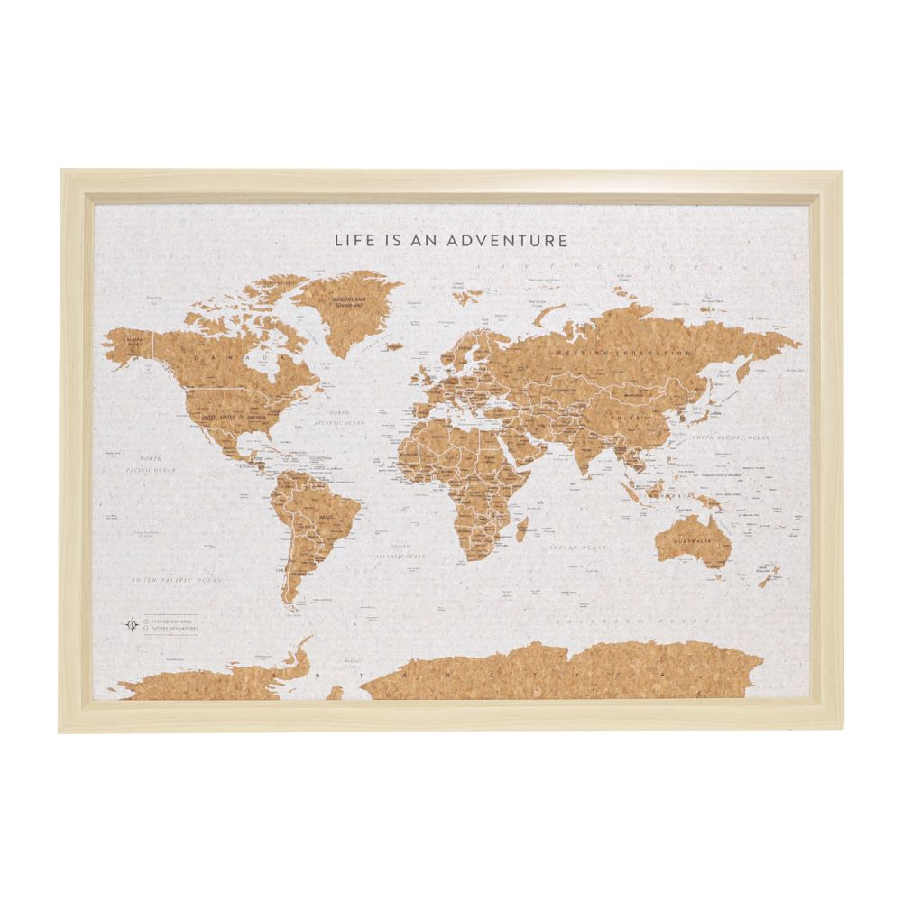 Deluxe Travel Pin Board Small - World Map - White