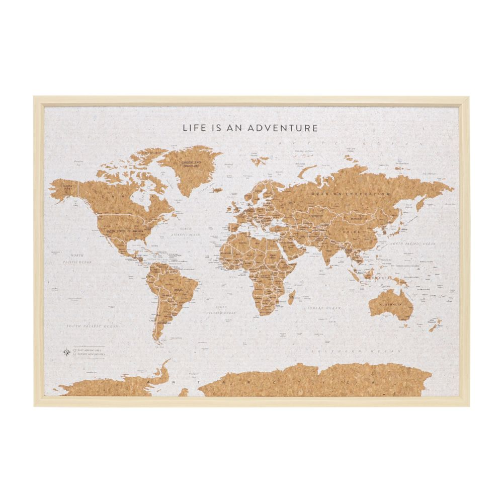 Large Deluxe Travel Pin Board - World Map