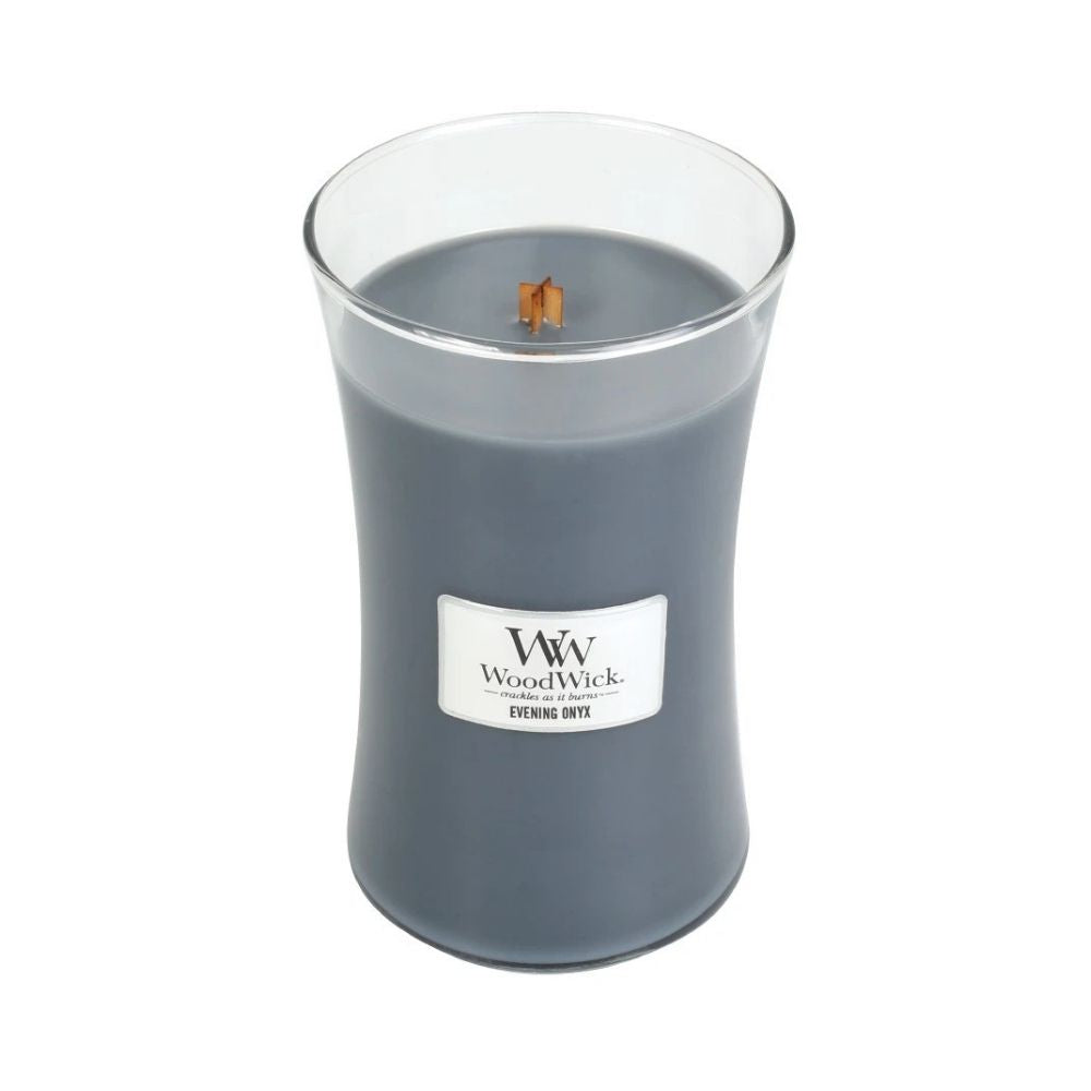 Large Evening Onyx Woodwick candle from funky gifts nz