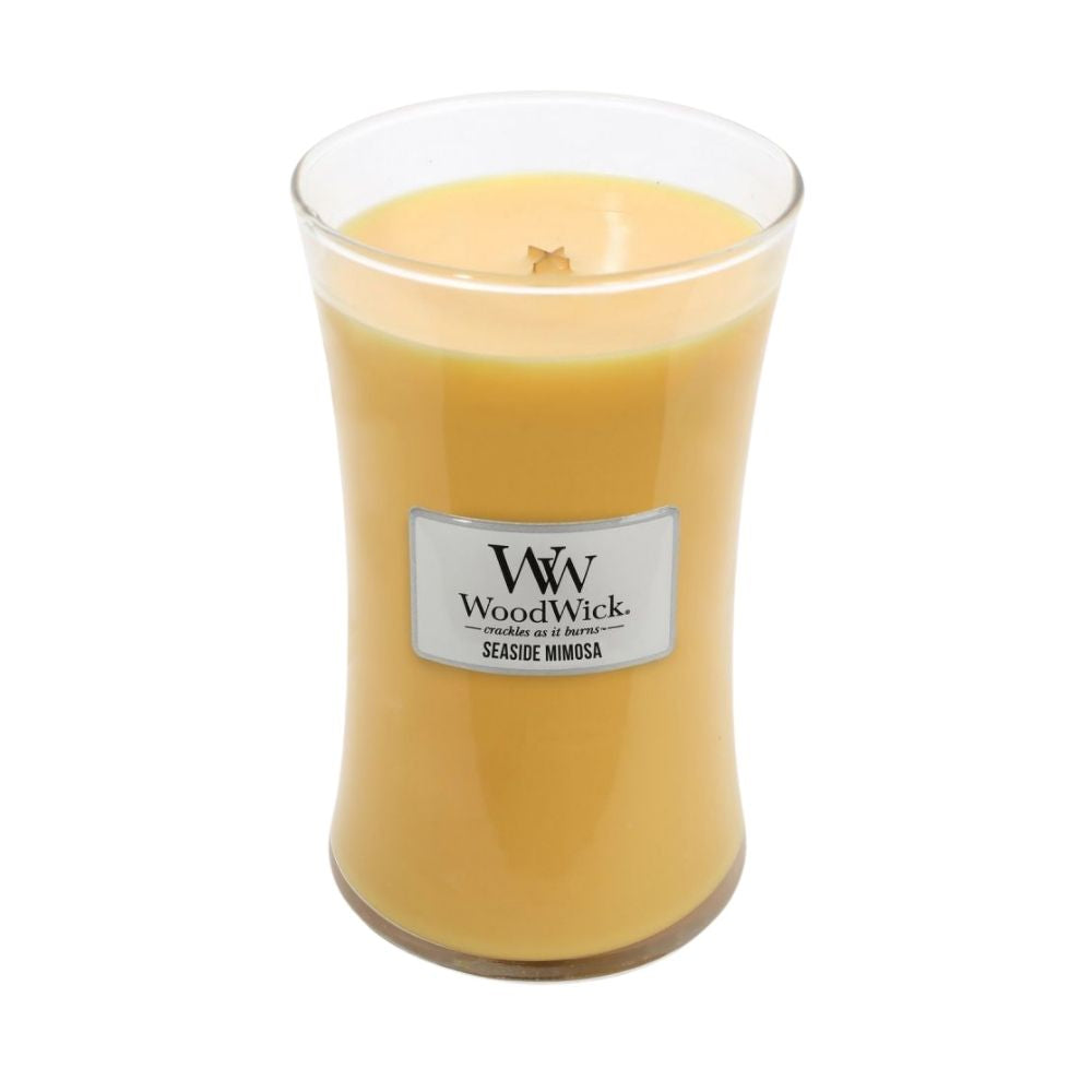 Large Seaside Mimosa Woodwick Scented Soy Candle from Funky Gifts NZ