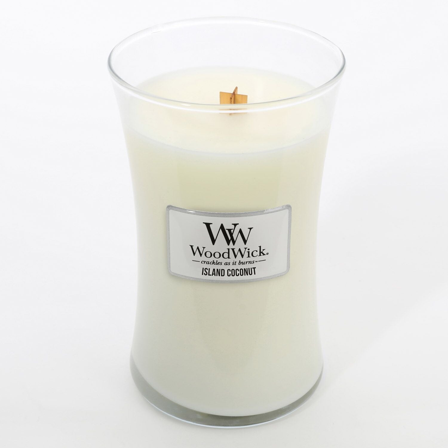 Large WoodWick Scented Soy Candle - Island Coconut