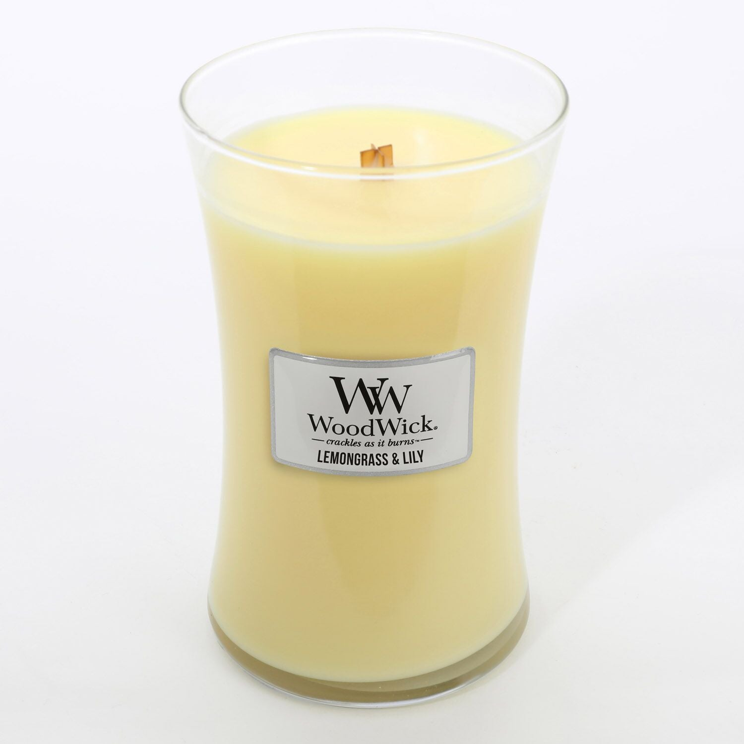 Large Lemongrass & Lily Scented WoodWick Soy Candle