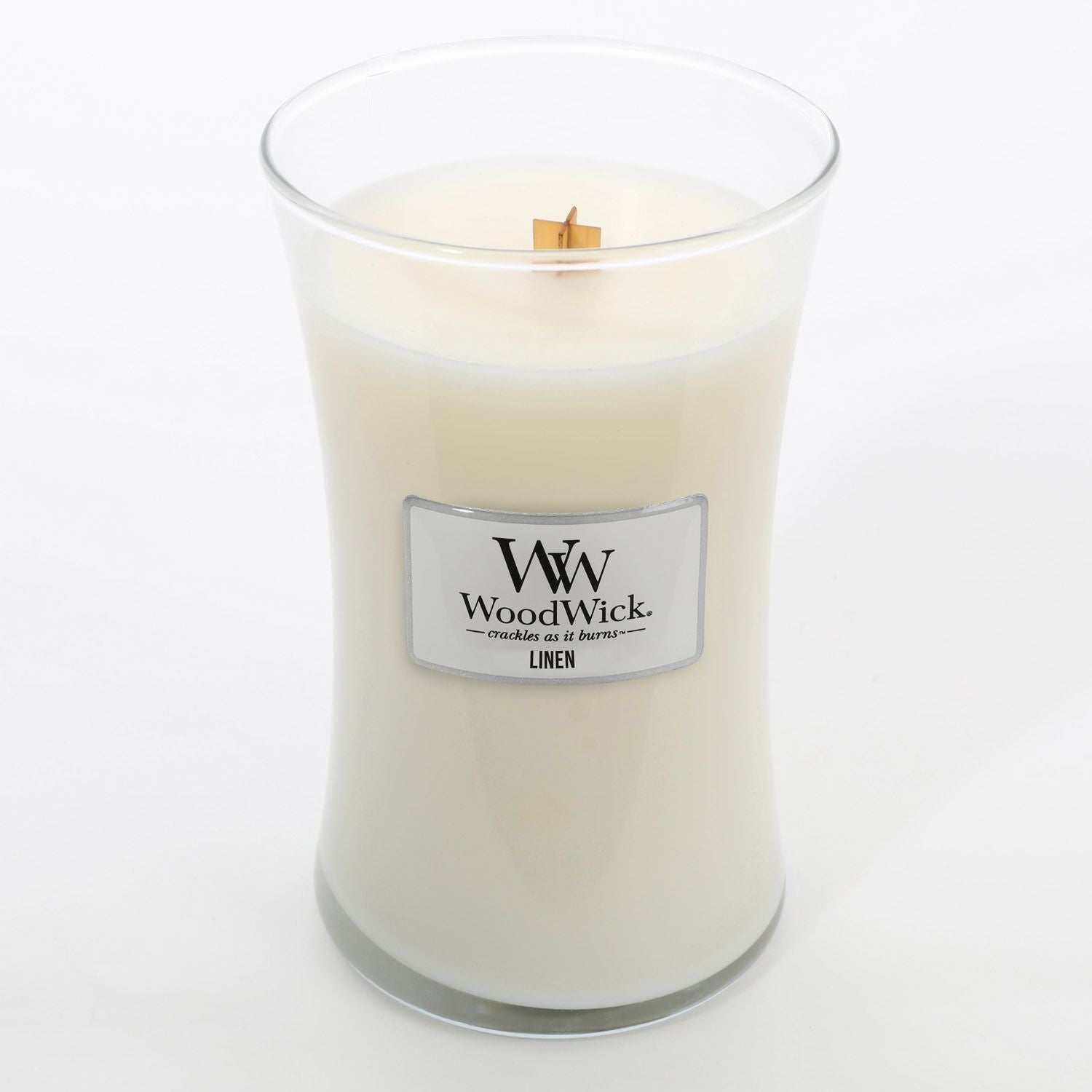 Large Linen Scented WoodWick Soy Candle