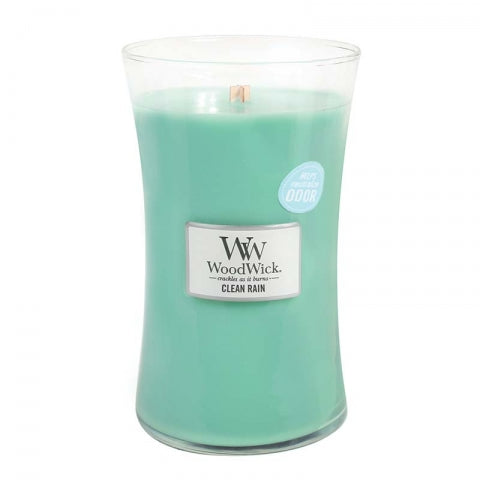 Large Clean Rain Scented WoodWick Soy Candle