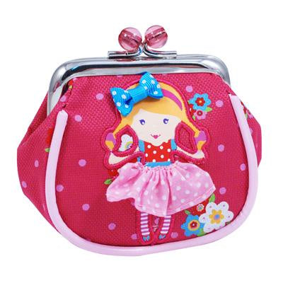 Polka Dot doll clip coin purse hot pink