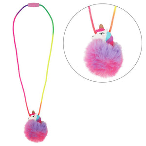 Unicorn pom pom necklace